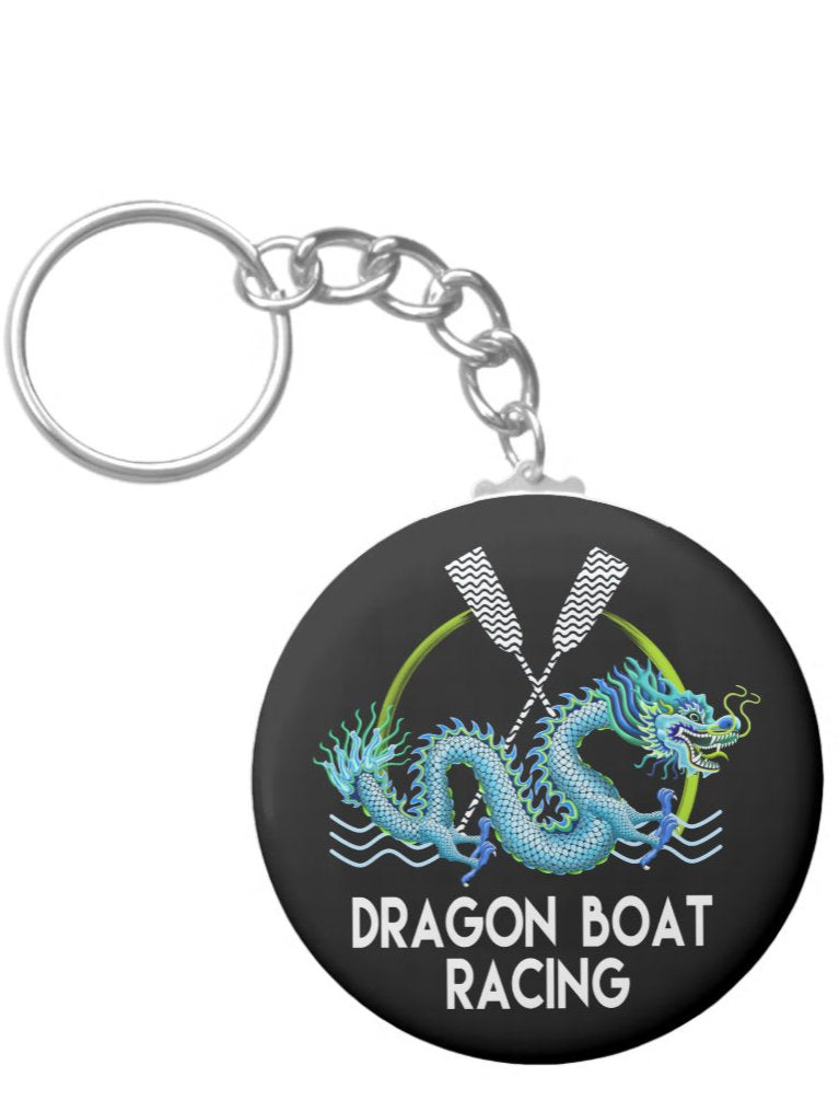 Key chain blue dragon boat racing