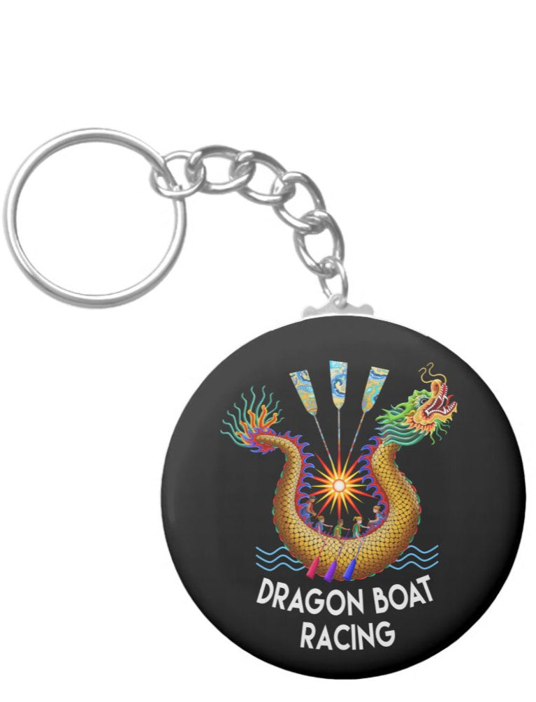 Key chain with with dragon boat and paddlers
