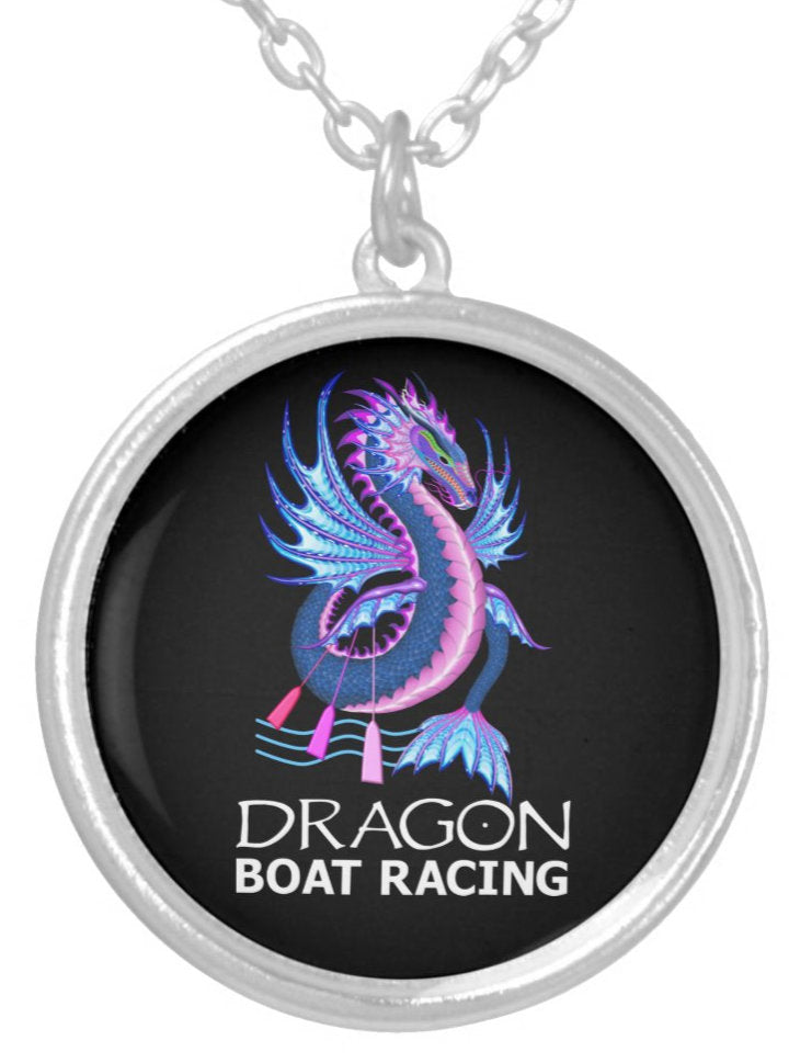 Blue Pink Water Dragon Silver Plated Necklace