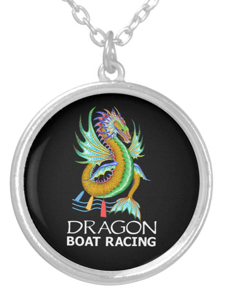 Gold Water Dragon Silver Plated Necklace