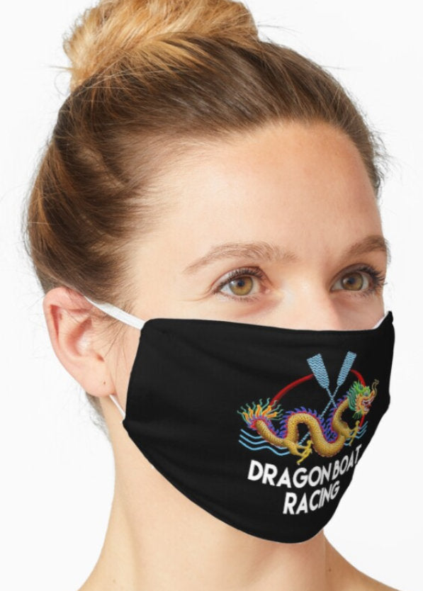 Gold dragon boat racing face mask