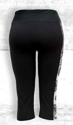 Capri Leggings with Large B&W Dragon Side Panel with Pocket - Back View