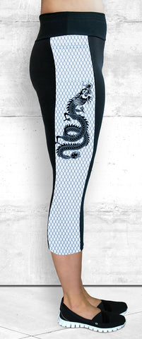 Capri Leggings - Small B&W Dragon Side Panel