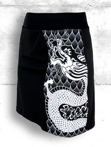 Skort with Large B&W Dragon
