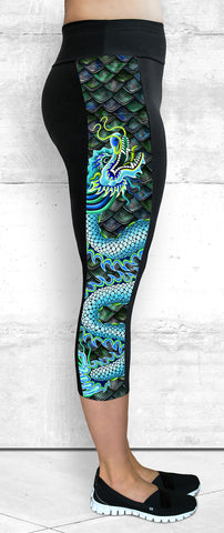 Capri Leggings - Large Blue Dragon Side Panel with Pocket (CP-102)