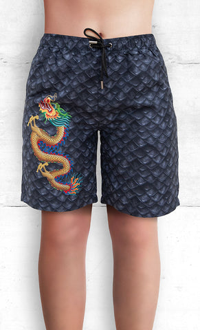 Board Shorts with Gold Dragon on Dragon Scales with Three Pockets