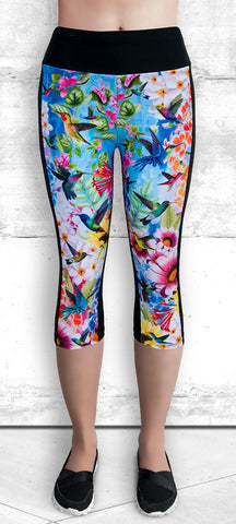 Capri Leggings - Humming Birds & Flowers  #1007B