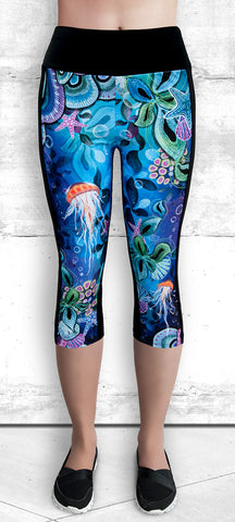 "Capri Leggings - ""Ocean Dreams"" #1008B"