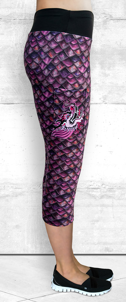 Capri Leggings - Fuchsia Dragon Scales with Side Pocket