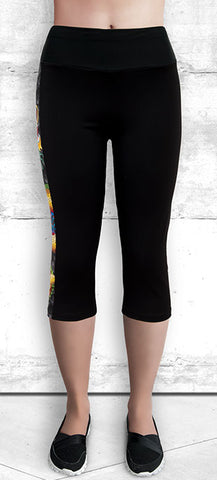 Capri Leggings with Large Gold Dragon with Pocket
