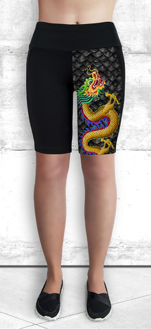 Dragon Boat Training Shorts with Gold Dragon with Pocket