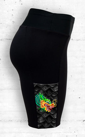 Dragon Boat Training Shorts with Gold Dragon - Side Pocket View