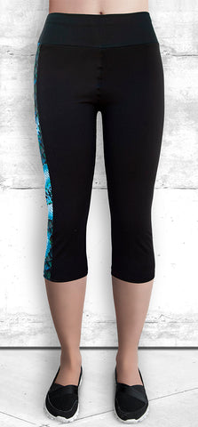Capri Leggings with Blue Dragon Side Panel with Pocket