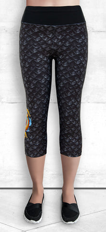 Capri leggings - Gold Dragon on Gray/Black Dragon Scales
