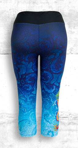 Capri Leggings with Gold Dragon on Blue Water Swirls - Back View