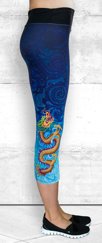 Capri Leggings with Gold Dragon on Blue Water Splash