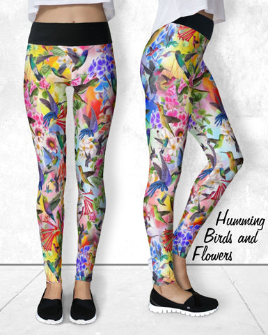 Leggings - Humming Birds and Flowers