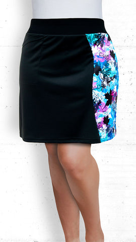 Skort - Black with Blue/Pink Maple Leaves Accent (SK-5021)