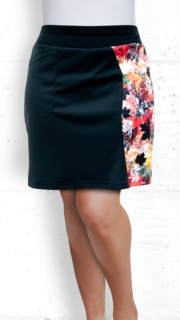 Skort with Autumn Maple Leaves Panel