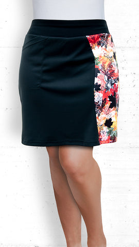 Skort - Black with Autumn Maple Leaves Accent (Style #5020)