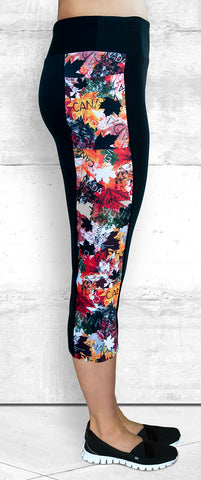 Capri Leggings - Autumn Maple Leaves (C-4020)