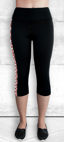 Capri Leggings - Red and Black Maple Leaves (C-4022)