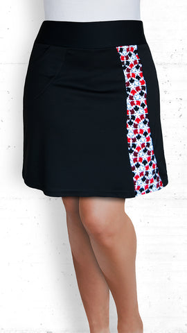 Skort - Black with Red/White/Black Maple Leaves Strip (SK-5022)