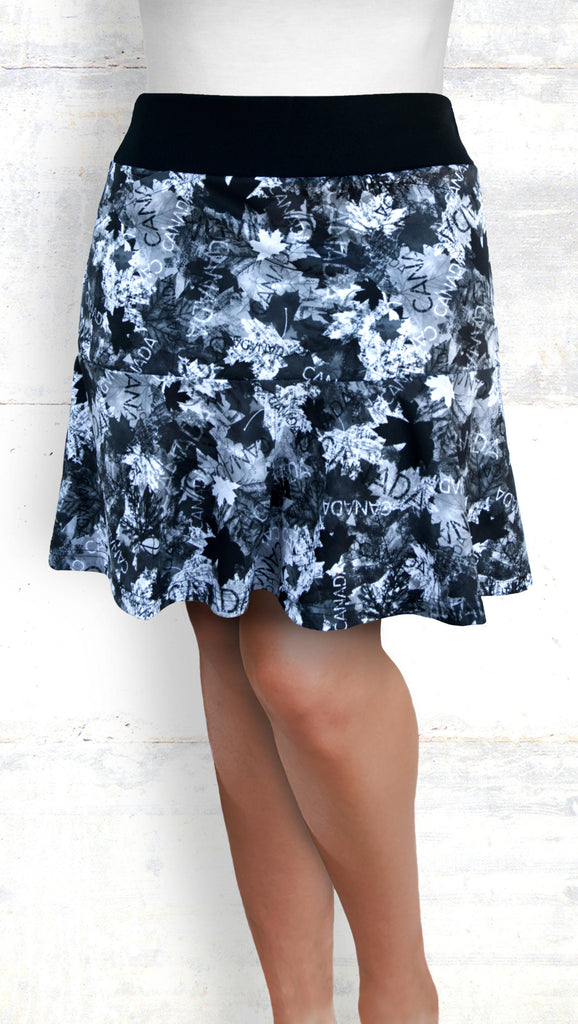 Flounce Skort - Maple Leaves, Shades of Gray (Style #6031)