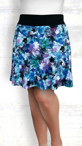 Flounce Skort - Maple Leaves, Blue/Pink (Style #6029)