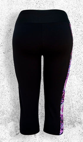 Capri Leggings with Pink Dragon Side Panel with Pocket - Back View
