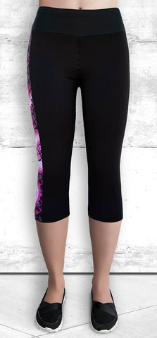 Capris Leggings with Pink Dragon Side Panel with Pocket