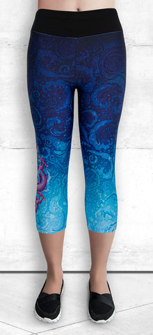 Capril leggings with pink dragon on blue water splash