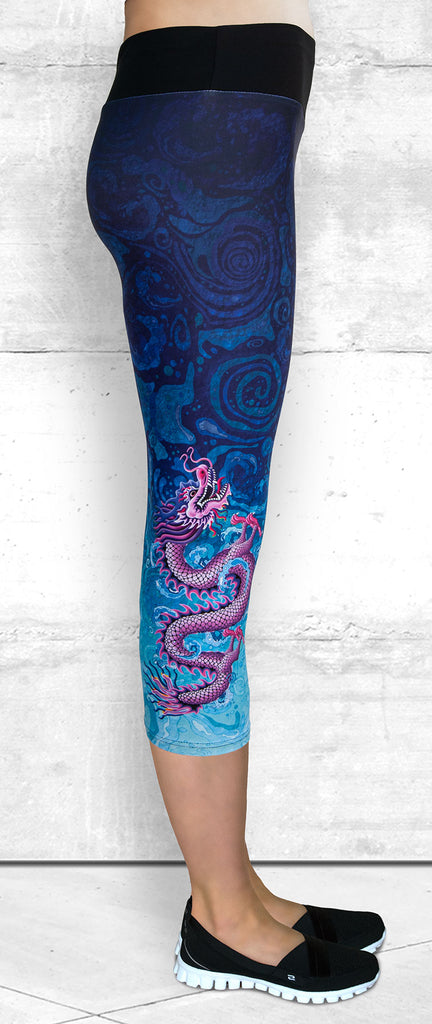 Capri Leggings with Pink Dragon on Blue Water Swirls