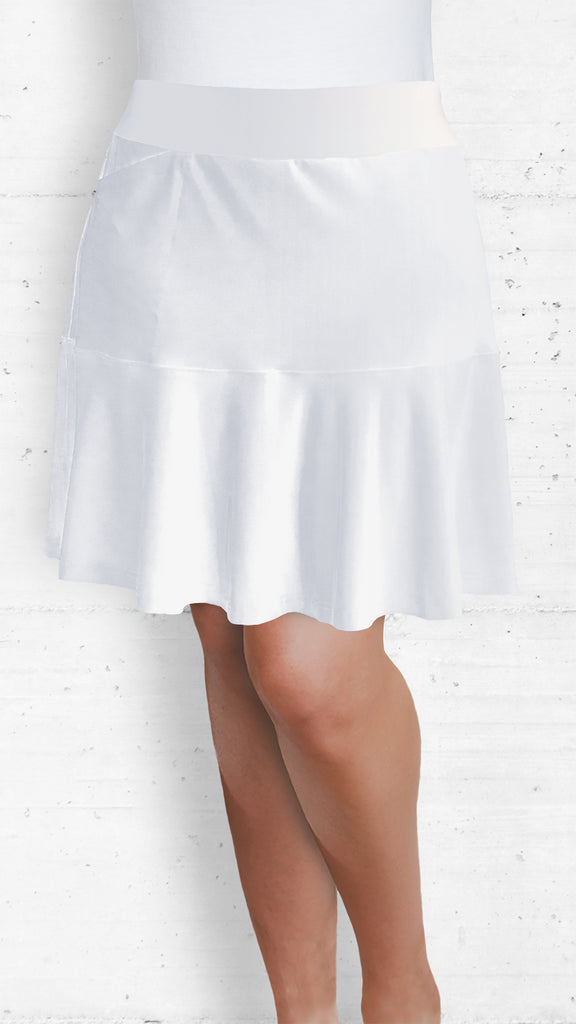White Skort with Front and Back Flounce