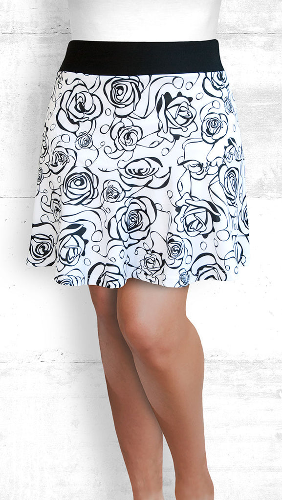 golf/tennis/travel skort with flounce - B&W Roses