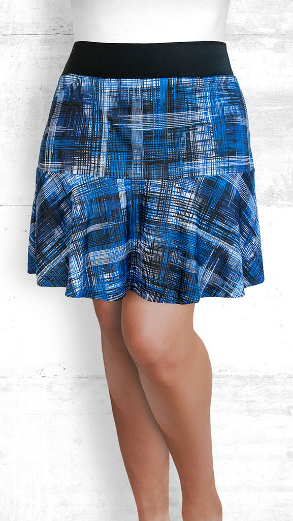 golf/tennis/travel skort with flounce - Blue Hatch
