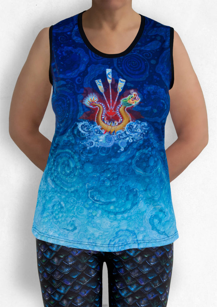 Sleeveless Top - Dragon Boat with Red Maple Leaf