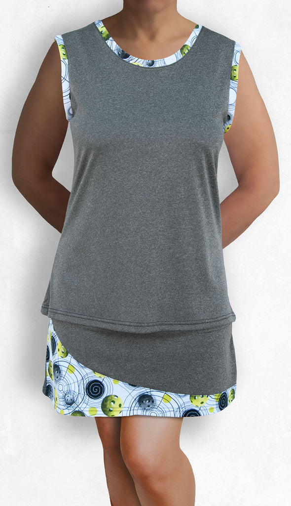 Graphite sleeveless top with pickleball print trims