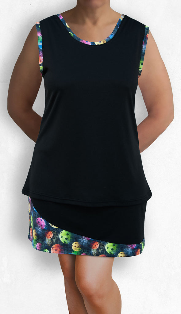 Pickleball Sleeveless Top - Black with Multicolor Accent