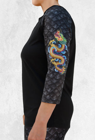 3/4 Sleeve Top with Gold Dragon on Left Sleeve (T-9000)