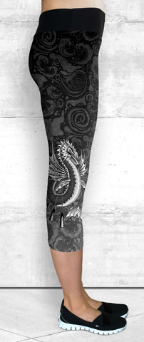 Capri Leggings - B&W Water Dragon on Water Swirls (C-201)