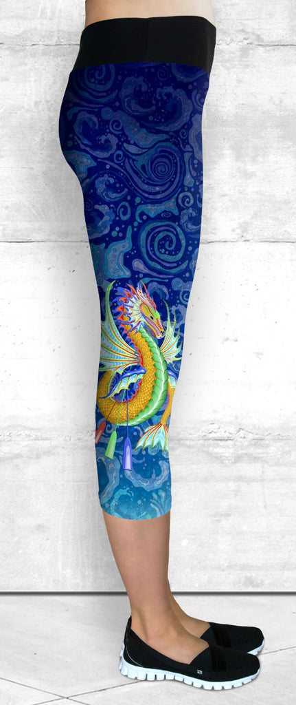 Capris with Gold & Green Water Dragon on Water Swirls