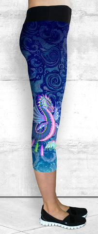 Capri Leggings - Pink & Blue Water Dragon on Water Swirls (C-203)