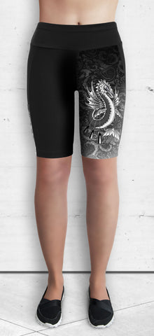 Training Shorts - B&W Water Dragon on Water Swirls (TS-201)