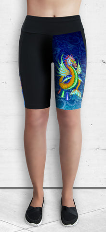Training Shorts - Gold & Green Water Dragon on Water Swirls (TS-200)
