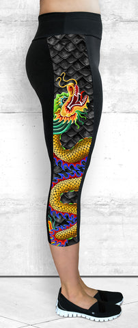 Capri Leggings - Large Golden Dragon Side Panel