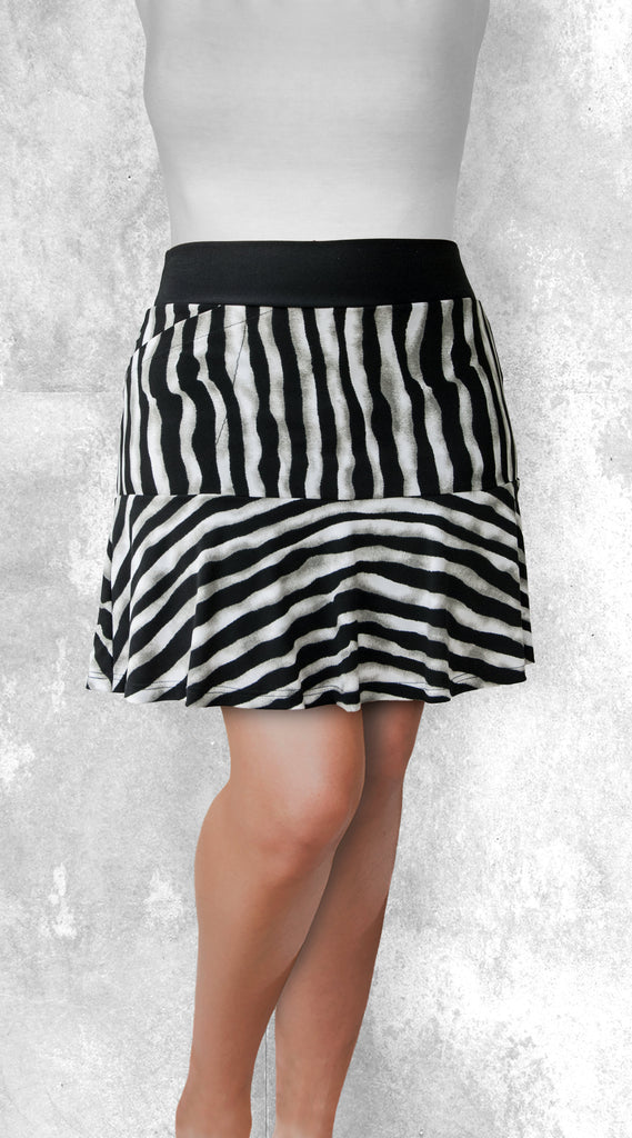 Flounce Skort -  Black and white zebra stripes