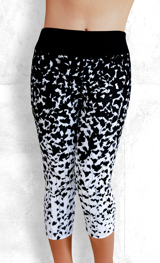 Capri Leggings - Black Leaves on White (#1001)