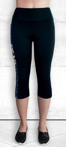 Capris with Small Golden Dragon Side Panel with Pocket