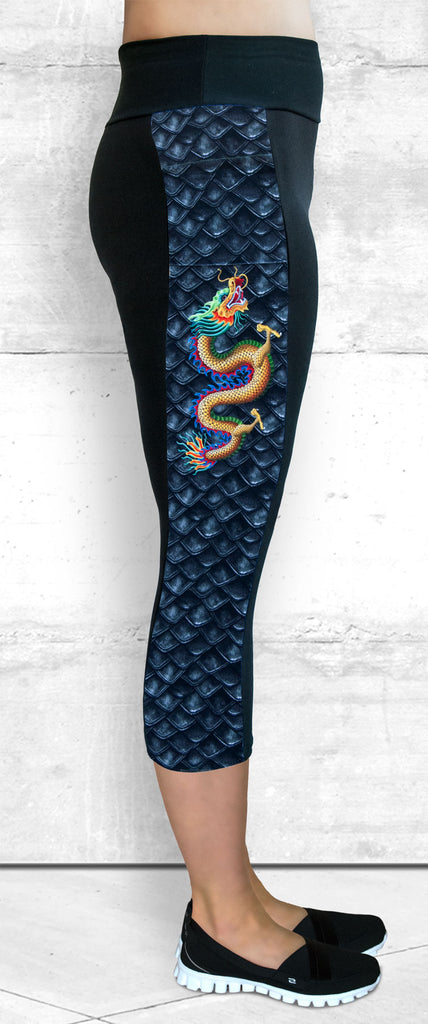 Capri Leggings with Small Gold Dragon Side Panel with Pocket